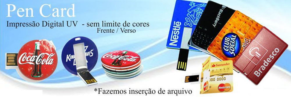 Pen Drive Card com impressao UV