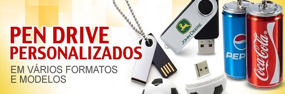 Pen Drive Personalizados em diversos formatos e modelos.